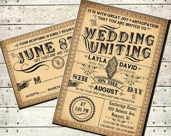 Ophelia - Printable DIY Victorian Steampunk Wedding Invitation Suite - Vintage Typography - Customized Wedding Invitation