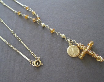 Golden Sapphire Cross Necklace, 14k Solid Gold Madonna Virgin Mary Metal Pendant Birthstone Beaded Necklace - Sample Sale