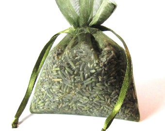 Lavender Sachets ORGANIC 12 Pack MOSS GREEN color 2x3  lavendar sachets aromatherapy freshly made fro you