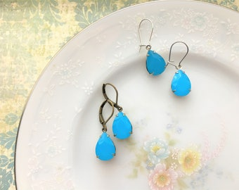 Blue Opally Vintage Jewel Earrings, Bright Sky Blue Earrings, Hypoallergenic, Silver or Antique Bronze Finish - you choose.