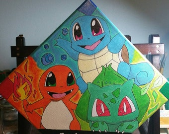 Pokemon Starters: Squirtle, Charmander, Balbasaur Glow in the dark painting