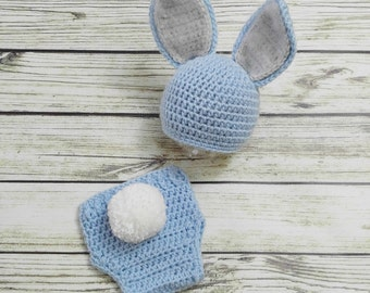 Baby Bunny Outfit - Bunny Hat Diaper Cover - Baby animal hat - newborn photo prop - crochet baby outfit - character hat - Easter Outfit