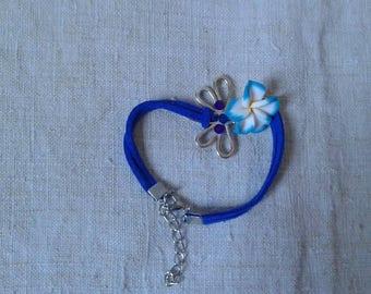 Bracelet silver Dragonfly and blue flower