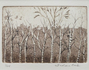 original etching and aquatint of woodland trees