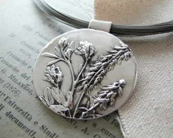 Dance No. 2, Wildflowers, Fine Silver Pendant, Natural Plant Reproduction, Handmade by SilverWishes