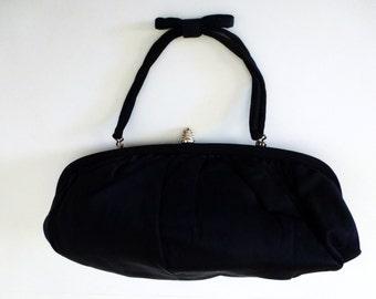 Vintage Black Satin Handbag with Gold Clasp