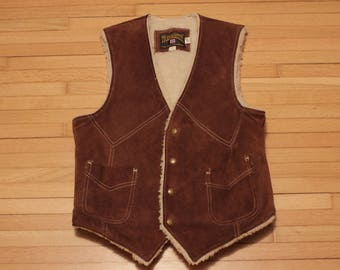 Vintage Leather Trailmaster Sherpa Vest / Small / Made in USA / Western / Rockabilly