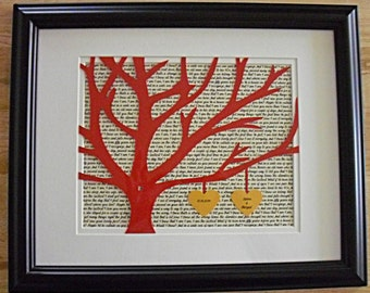 Unique Wedding Gift for Couple, Personalized 11X14 Unframed 3D Paper Tree Wedding Gift, Anniversary, Wedding Song Lyrics