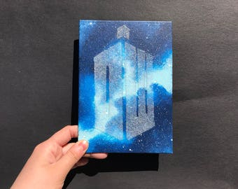 """""""DW"""" TARDIS - Mini Canvas Inspired by Doctor Who"""