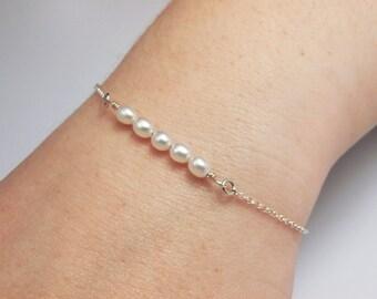 Pearl Bar Armband, Kette, Sterling-Silber - für sie, Mutter Geschenk, Geburtstag, Hochzeit, Brautjungferngeschenk, elegante zarte Fine Jewelry