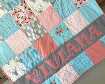 Gray Coral Aqua Woodland Baby Quilt - Personalized Baby Quilt - Blanket - Blush Pink- Deer - Arrow - Milestone - Antler bohemian - Teepee