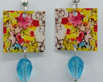 Flower Earrings, Sterling Silver Jewelry, Crystal, Lightweight and Petite, Designed by Artist, Free Shipping,