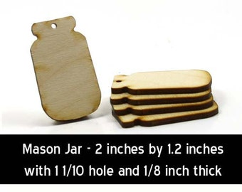 Unfinished Wood Mason Jar - 2  inches tall by 1.2 inches wide and 1/8 inch thick with 1 1/10 hole wooden shape (MSJR02)