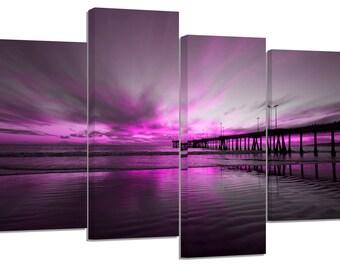 purple beach sunset/set of 4 new split canvas prints.