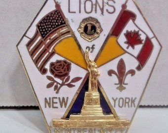 Vintage New York Montreal 1979 Lions Club Flag Statue of Liberty Pin