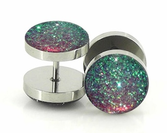 Alice In Iridescent Land Sparkle Fake Plugs  -  7mm,12mm,14mm - 18g