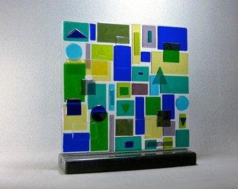 Mid Century Modern Art Glass Geometric Dimensional Patchwork Sculpture Abstract  Artist Signed