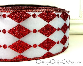 """Christmas Wired Ribbon, 2 1/2"""" Red Glitter Diamond and Dot on White  - THREE YARDS - Offray """"Zanni"""" Harlequin Wire Edged Ribbon"""