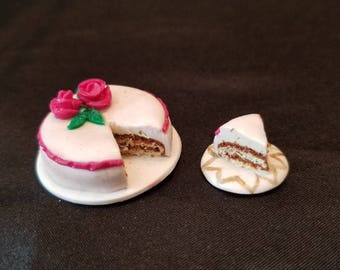 "Dollhouse miniature cake with cake slice 1""scale"