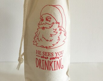 Funny Wine Gift, Wine Gift Bag, Screen Printed Holiday Wine Tote, Cotton Canvas Wine Tote Bag, Christmas, Holiday