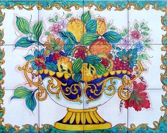 Decorative Kitchen Backsplash Tiles - Hand Painted Tile Mural - Fruit Bowl Painting - Ceramic Bathroom Tiles - Accent Wall Tiles - Art Tiles