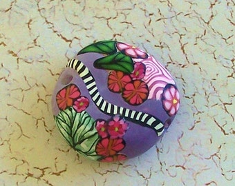 Purple Floral Embellished Polymer Clay Focal Bead by Carol Wilson of PollyClayDesigns
