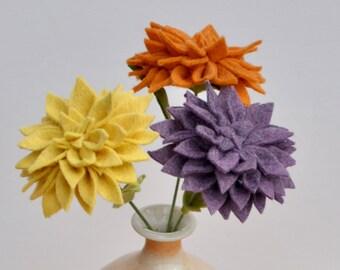 Dahlia (2) / Felt Flowers / Felt Flower Stem / BUY the Stem