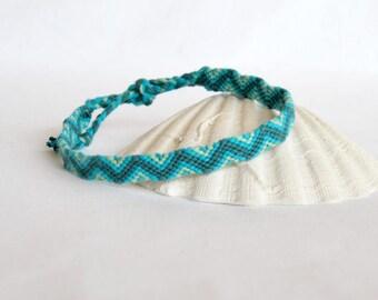 Anklet Brazilian blue turquoise zig - zag pattern ethnic hippie anklet surf Brasilda men women