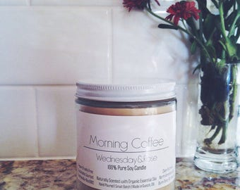 Morning Coffee - Eco-friendly Vegan Soy Candle - 100% Pure Essential Oils - clean burning - aromatherapy