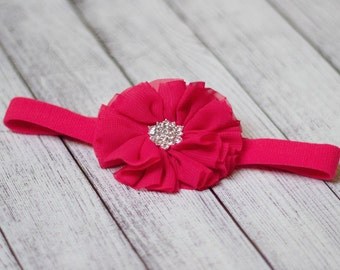 Fuchsia Flower Clip or Headband with Jewel Center Fuchsia Color Baby Headband Fuchsia Flower Headband Fuchsia Flower Clip