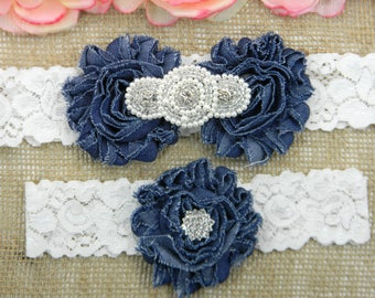 Denim Wedding Garter Set, Wedding Garter, Lace Bridal Garter Set, Keepsake Garter, Toss Garter, Pearl and Crystal Rhinestone Wedding Garter