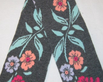 Leg warmer, Infant, Newborn, Toddler -flowers on charcoal grey- infant leg warmer, newborn leg warmer, baby girl leg warmer, baby leg warmer