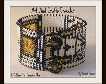 Bead Pattern Arts and Crafts Movement Pattern Beaded Bracelet Stained Glass Window peyote stitch or loomwork tutorial instructions