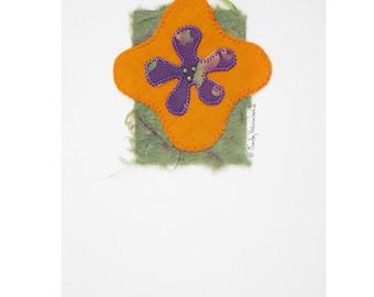 Handmade Greeting Card, Beaded Flower, Purple, Orange, Green