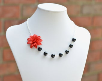 FREE EARRINGS, Red Dahlia Necklace, Red Flower Necklace, Red Bridesmaid Necklace, Statement Necklace.