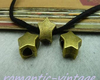 Star 5 beads charms bronze Ribbon, 7 * 11mm