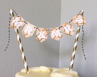 Mr & Mrs Wedding Mini Cake Topper Bunting