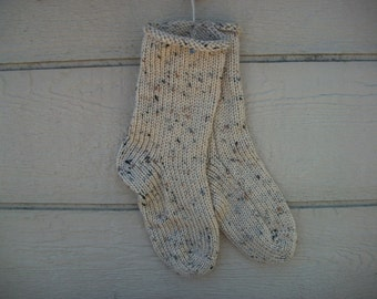 Hand Knit Socks Buff Fleck Tweed You Pick the Size Fabulous Funky Footwear custom size Made to Order