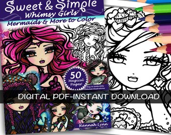 PDF DIGITAL Printable Coloring Book Sweet & Simple Whimsy Girls All Ages Fantasy Mermaid Fairy Art by Hannah Lynn