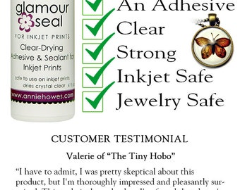 Photo Jewelry Glue. Glamour Seal Glass Cabochon Glue for Glass Pendants is safe for inkjet prints. 2oz or 4oz size
