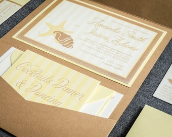 "Beach Wedding Invitation, Yellow and Khaki Invites, Nautical Seaside Invitation Set, Starfish Wedding - ""Starfish & Shell"" PF-1L-v3 SAMPLE"