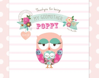 Handmade, personalised, thank you Godmother card by Katie Elliott Designs
