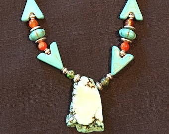 Santa Fe Turquoise  Arrow Necklace with Drop