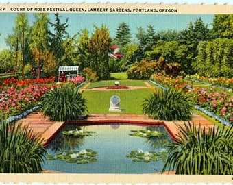 Vintage Oregon Postcard - The Court of Rose Festival Queen Garden at Lambert Gardens, Portland (Unused)