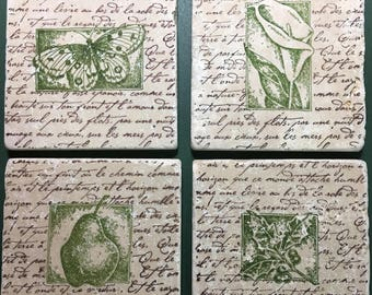 Coasters - natural tumbled stone - Gift for mom - Mother's day gift