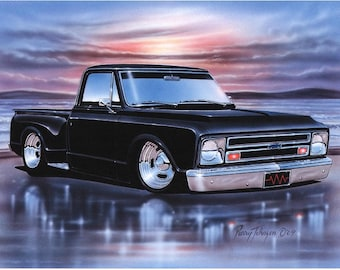 1968 Chevy C10 Stepside Pickup Classic Truck Art Print w/ Color Options