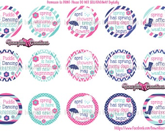 Spring-Rain Bottle Cap Images- 1 Inch Circles- INSTANT DOWNLOAD- April Showers- May Flowers- Digital Bottle Caps- Bottle Cap Images- Rain