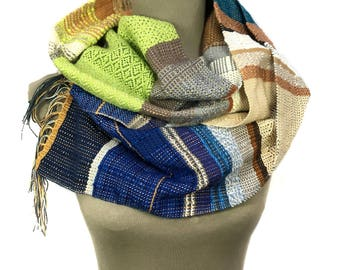 Jeanne   Handwoven Sapphire Blue Textured Scarf   Colorful Autumn Fashion   Woven Gifts for Her   Chevron + Diamond Pattern Scarf   H93