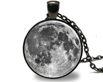 Full Moon  Pendant, Full Moon Necklace, Full Moon Jewelry, Full Moon Charm Black (PD0196)