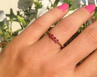 20% off- SALE!!! Triple Gemstones Ring - Ruby ring - Stack Ring - Gold Ring -  Delicate Ring - Fuchsia Ring - Tiny Ring - July Birthstone